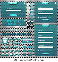 Image of a colorful web template with bars, buttons, icons, chat bubbles and transparent forms against a metallic background.