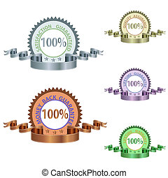 Image of various quality and lifetime guarantee medals and ribons isolated on a white background.
