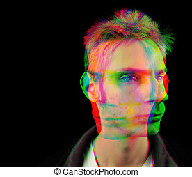 Altered State - Portrait depicting a young man getting high...