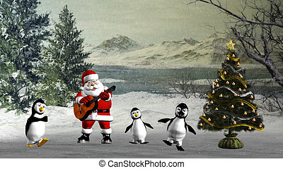 Christmas dance - Santa Claus plays for the penguins, a...