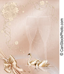 Weddingday - a beautiful wedding background with swans and...