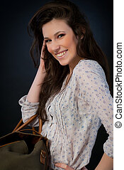 Attractive brunette woman smiling - Attractiv brunette woman...