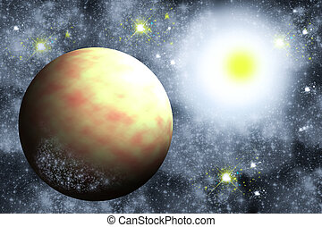 galaxy - Earth like planet and the Sun with cosmic dust and...