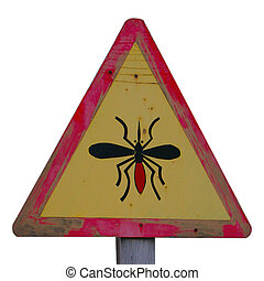 Yellow Wooden Midge Sign on isolated background