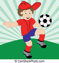 Cartoon Child Playing Football - Young boy cartoon character...