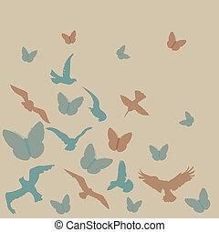 birds, butterflies background