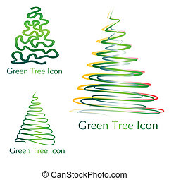 green tree icon collection