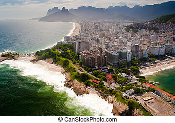 Ipanema - Aerial view of Ipanema and Copacabana beaches in...