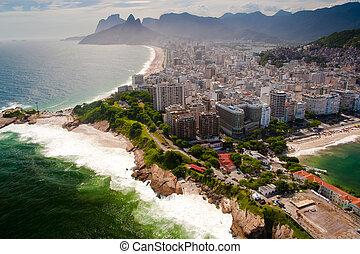 Ipanema - Aerial view of Ipanema and Copacabana beaches in...