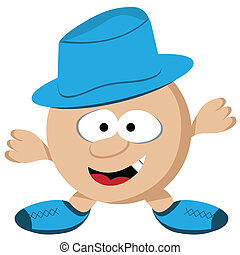 Guy with Hat Cartoon Character - Cartoon round guy with...
