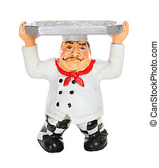 Tired Chef with Serving Tray - A tired Italian man chef with...