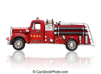 Antique Fire Truck - An old vintage fire truck isolated over...