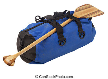 canoe paddle and waterproof duffel - paddling trip or...