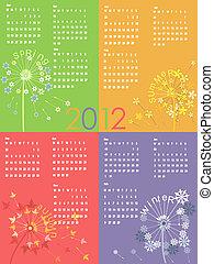 calendar 2012 - Colorful dandelion calendar 2012.