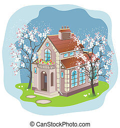Spring house - Detached house with cherry trees in blossom....
