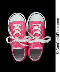 Sneakers (Tennis Shoes) over black - Pink Girls Sneakers...