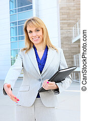 Blonde Business Woman - A pretty blonde caucasian business...