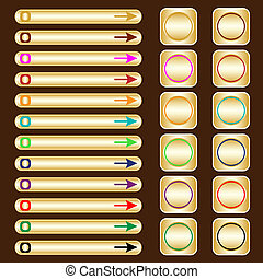 Web buttons, gold with assorted colored elements