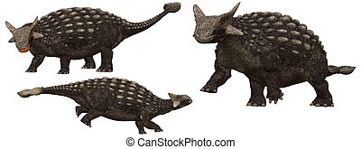 Ankylosaurus Dinosaurs from north america - isolated on...