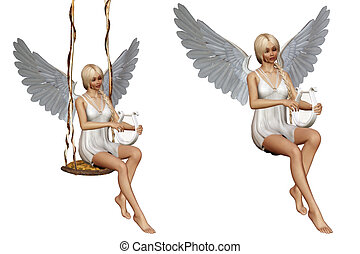 angels song 2 - a angel play a musical instrument - isolated...