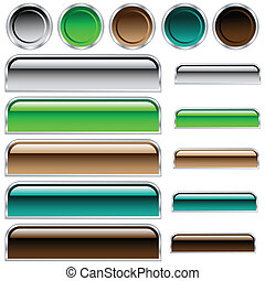 Buttons, scaleable shiny rounded rectangles and circles in assorted colors