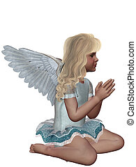 praying Angel - A little angel kneels and prays - isolated...