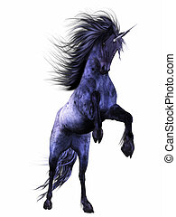 blue Unicorn - a magnificent blue unicorn - isolated on...