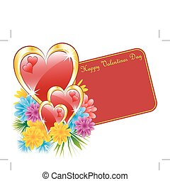 Valentine red heart and flowers - Valentine red and gold...
