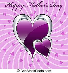 Mother's day purple hearts symbolizing love, set on a lilac...