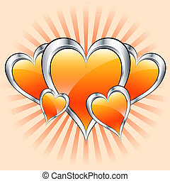 Orange hearts, valentine or mothers day