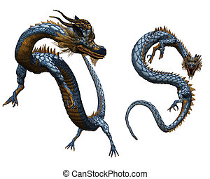 Chinese dragon - a colorful Chinese dragon - isolated on...