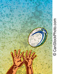 rugby player hands catching ball - poster illustration of a...