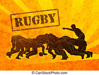 rugby players engaged in scrum - poster illustration of...