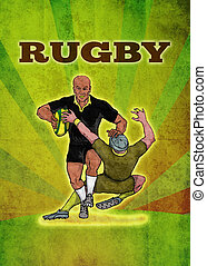 rugby player running attacking