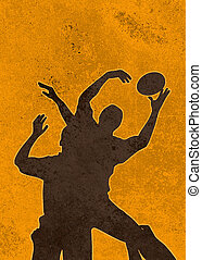 rugby player catching ball in lineo - poster illustration of...