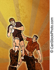 rugby player catching ball lineout