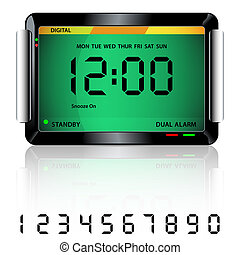 Digital alarm clock green - Digital alarm clock isolated on...