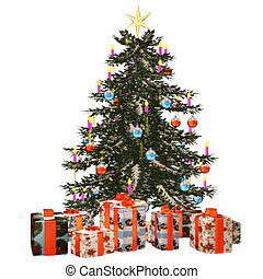 Christmastree with praesent - a beautiful Christmas tree...