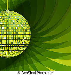 Disco ball green on abstract background