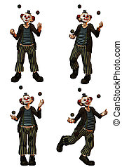 the clown - a funny clown in the show with balls - isolated...