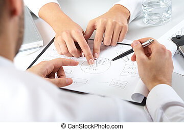 Business plan - Two pairs of hands passing over business...