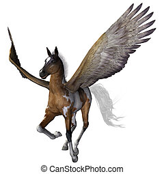 flying pony - a beautiful flying pony - isolated on white