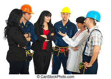 Different workers having conversation - Workers with...