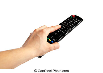 Pushing The Button - human hand pushing button on tv remote...