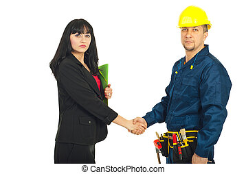 Business woman and constructor worker deal - Business woman...