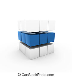 3d business cube blue isolated white success teamwork