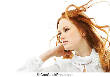 Red-haired woman - Image of beautiful young red-haired woman...