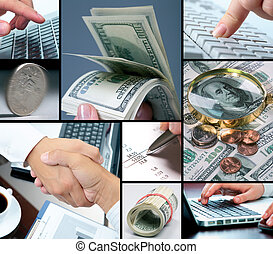 Finances and business - Collage of different banknotes,...