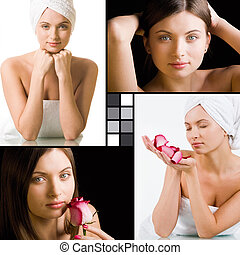Fresh female - Collage of charming woman with fresh pink...