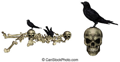Halloween pack - Ravens sit on skeletons - isolated on white